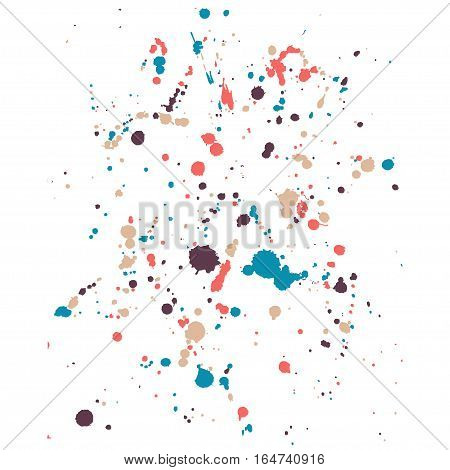 Hand-made grunge colorful drops texture. Abstract splatters and stains on white isolated  background. Artistic messy painting for your design. Vector art.
