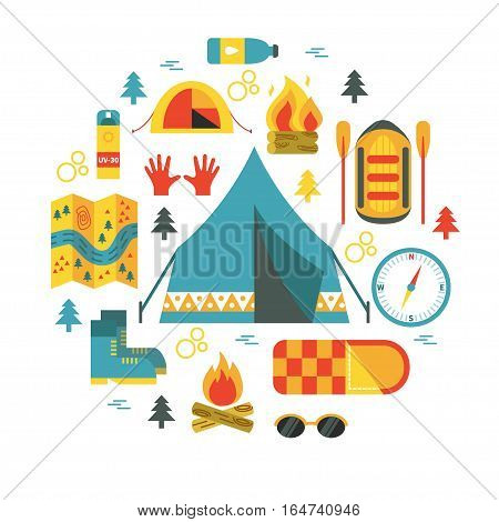 Camping. Round vector illustration with camp and rafting equipment - tent, campfire, map, stopwatch, forest, raft etc. Flat design. Could be used for websites, advertising, banners and flyers