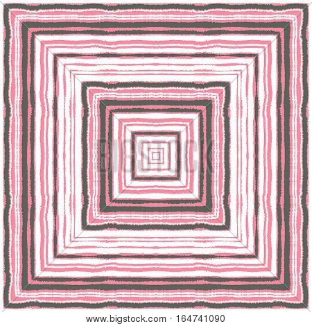 Striped rectangle pattern. Square lines with torn paper effect. Ethnic background. Pink, gray, white contrast colors. Vector