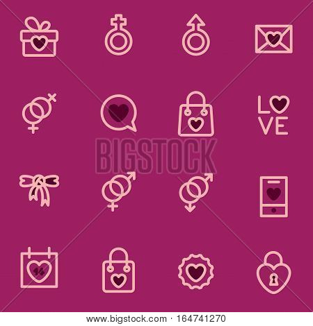 Valentine Day vector outline icons executed in the modern style. logos.