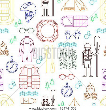 Vector seamless pattern with color line icons for various rafting and camping equipment - raft, oard, helmet, lifebuoy, tent, campfire, wet suit, etc. On white isolated background. Linear design.