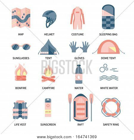 Vector icon set for rafting and camping activities. Vest, round-bouy, raft, camping fire, helmet, oar, clothing, tools, tent etc. Fully editable. Flat design. On isolated background. Could be used for web and paper.