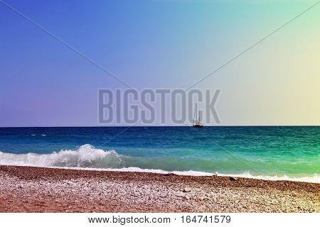Yaht On Horison Line. Seascape. Tinted Toned Coloration Image