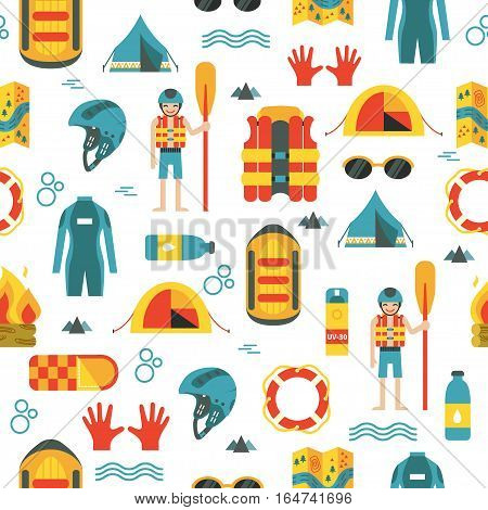 Vector seamless pattern with colorful rafting and camping equipment on white isolated background. Flat design. Pattern with raft, oard, helmet, lifebuoy, tent, campfire, wet suit, rafter and other stuff.