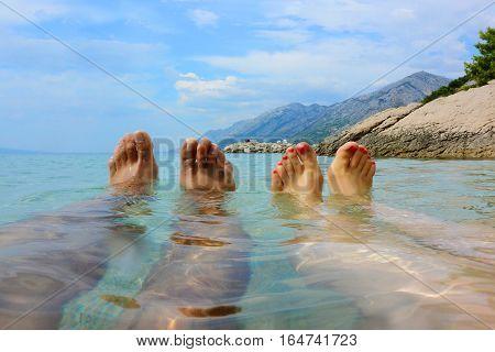 Human Feet On Water