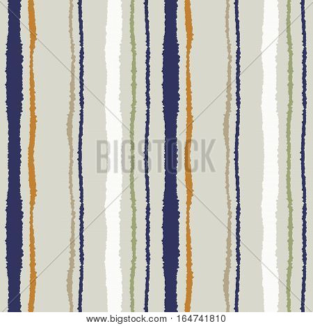 Seamless strip pattern. Vertical lines with torn paper effect. Shred edge texture. Olive, gray, orange colored background. Vector