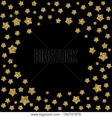 Round background with place for your text in golden frame made of sparkling stars. Circle made of golden pentagons isolated on black. For greeting cards design, invitational posters, web banners
