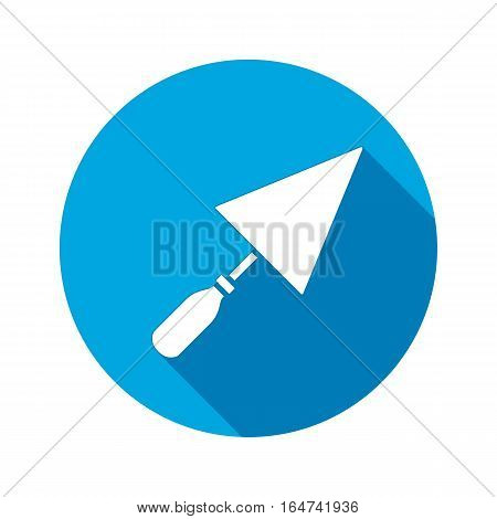 Tool icon. Spattle, surfacer, plastering instrument. Work, job, labour, toil, repair, building symbol. White sign on round blue button with long shadow. Vector isolated
