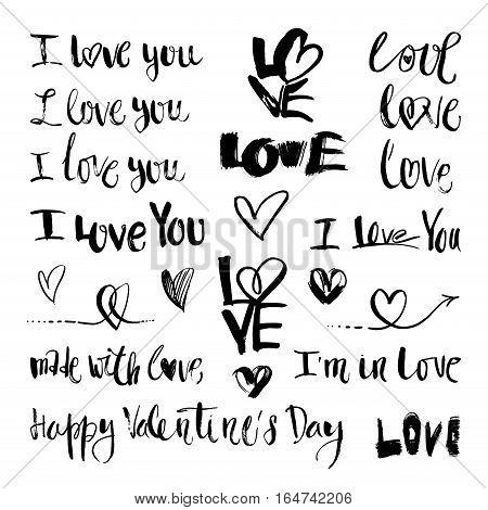 Vector doodle hand-drawn grunge love lettering, romantic symbols
