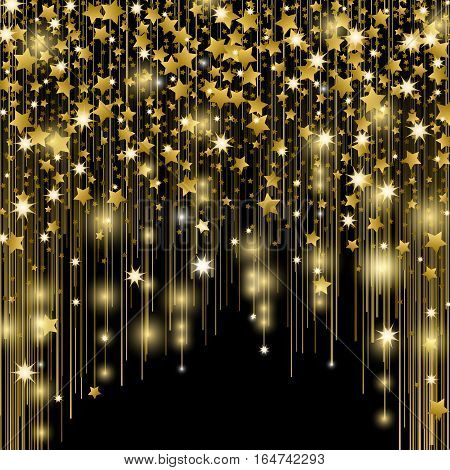 Star splashes, blurred spots, vertical golden lines, glittering space dust, magic cosmic rays, bright shimmer beams isolated on black vector illustration. Salute elements background isolated pattern.