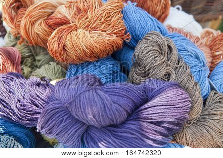 Closeup on woollen yarn in different colours