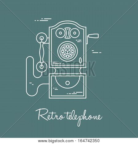 Vector illustration of communication device - classic retro vintage phone icon. Cell symbol silhouette isolated. Line style.