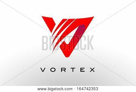 Letter V Logo. Letter V Flat Design with Swash.