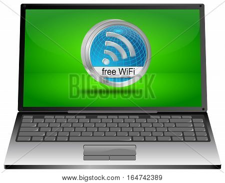 Laptop Computer with free WiFi button - 3D illustration