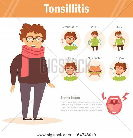 Tonsillitis. Vector. Cartoon. Isolated. Flat Illustration for websites brochures magazines Medicine