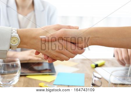 Handshake. Women shake hands sealing the successful business transactions