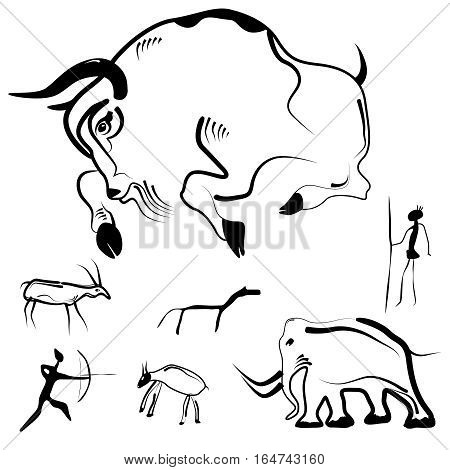 Stylized Drawings Of Prehistoric Animals And Humans