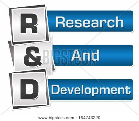 R and D - Research and development text written over blue grey background.