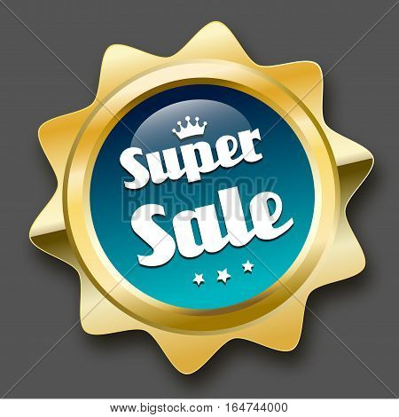 Super sale seal or icon with crown symbol. Glossy golden seal or button with stars and turquoise color.