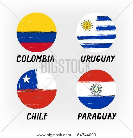 Set Of 4 Flags - Round Icons - Colombia Uruguay Chile Paraguay