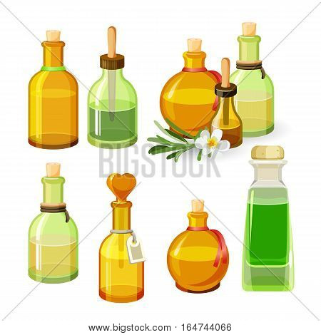 Colourful bottles with aroma oils isolated on white background. Vector illustration of glass flacons of round and elongated shapes with stoppers, long pipettes and labels, flower with leaves