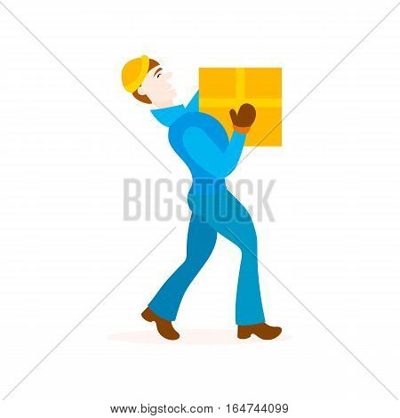 Delivery man with cardboard box. Concept fast delivery goods to home. Isolated white background. Flat style. Courier boy carries a box. Loader profession.