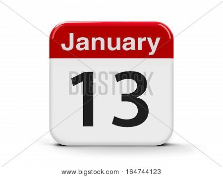 Calendar web button - The Thirteenth of January three-dimensional rendering 3D illustration