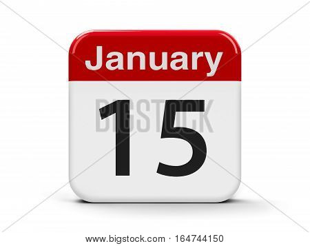 Calendar web button - The Fifteenth of January three-dimensional rendering 3D illustration
