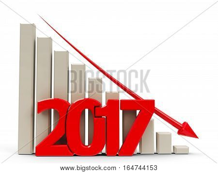 Red business graph with red arrow down represents decrease in the year 2017 three-dimensional rendering 3D illustration