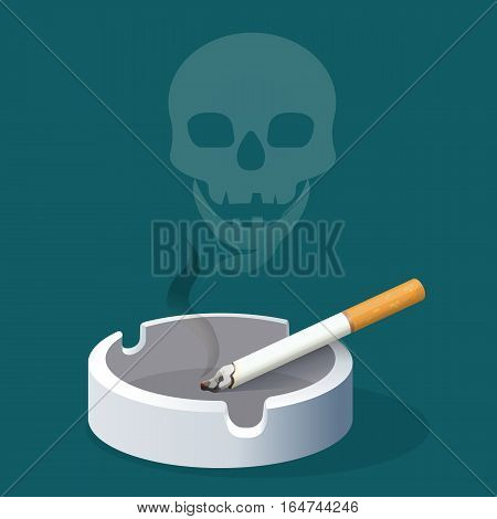 Ashtray with cigarette and skull made of smoke. Smoking cigarette with filter in ceramic tray. Realistic vector illustration to warn about danger of harmful habit. Addiction with risk for health