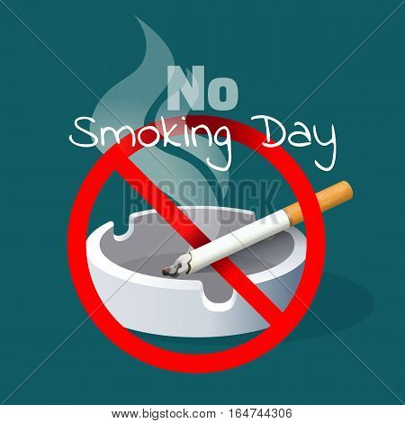 No smoking day. Ashtray with cigarette and smoke with red alert sign. Realistic vector illustration to warn about danger of harmful habit. Addiction with risk for health leads to cancer