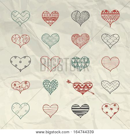 Set of Hand Drawn Heart Shapes with Doodle Patterns. 14 February Valentine Day Vector Illustration on Crumple Paper Texture. Hearts Graphic with Aztec, Stars, Swirls, Zigzag, Lines, Circles, Triangles, Dots Ornaments.