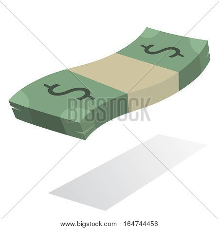 Stack of dollar banknotes, american currency in flat vector symbol