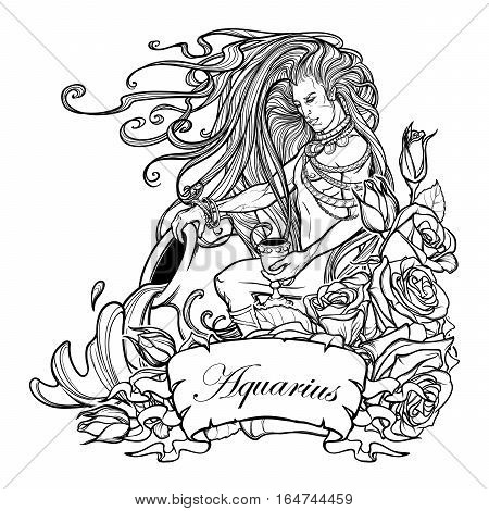 Zodiac sign Aquarius. Young man with long hair holding large amphora. Water flowing out. Frame of roses. Vintage art nouveau style concept art for horoscope, tattoo or colouring book.