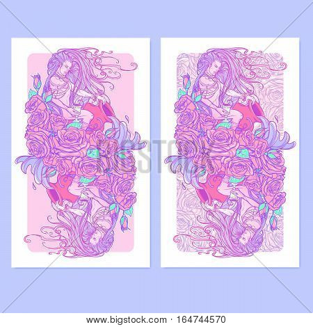 Zodiac sign Aquarius. Young man with long hair holding large amphora. Frame of roses. Water flowing out. Vintage art nouveau style concept art for horoscope or tattoo. Vertical banners set