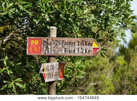MADEIRA, PORTUGAL - SEPTEMBER 6, 2016: Signboard 25 Fontes and Risco Levada on Madeira Portugal - travel background