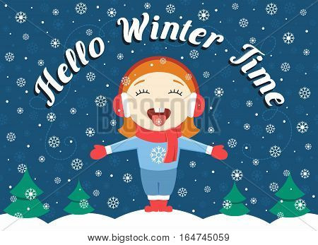 flat design vector illustration of cute little girl standing in the park catching snowflakes and text