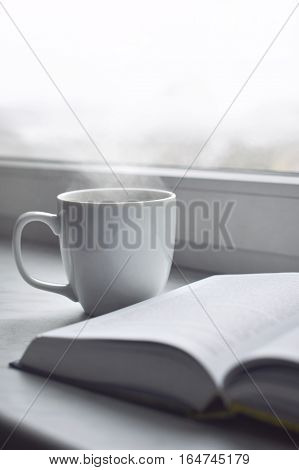 Cozy home still life: cup of hot coffee and opened book on windowsill against snow landscape outside. Winter holidays and Christmas time concept, free copy space.