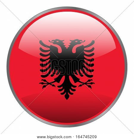 Albania Flag. Round Glossy Isolated Vector Icon With National Flag Of Albania On White Background.