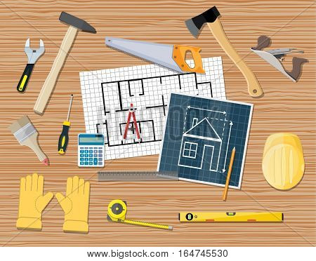 workplace of a carpenter. projecting, building, repair. vector illustration in flat style