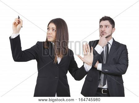 A businesswoman and businessman are working together