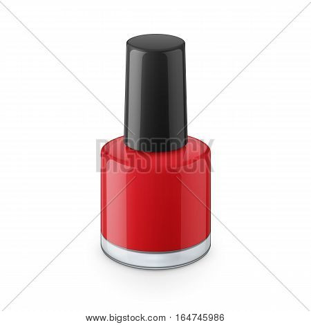 Round red glossy nail polish bottle with black cap. Realistic packaging mockup template. Eye-level view. Vector illustration.