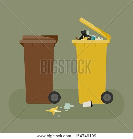 Dumpsters with garbage flat illustration. Vector banner of containers for separate waste.