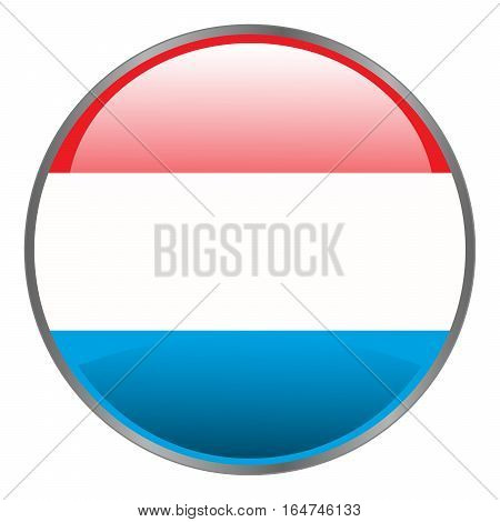 Luxembourg Flag. Round Glossy Isolated Vector Icon With National Flag Of Luxembourg On White Backgro