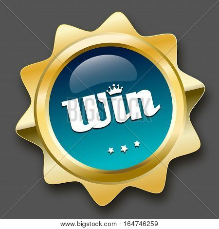 Win seal or icon with crown symbol. Glossy golden seal or button with stars and turquoise color.