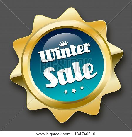 Winter sale seal or icon with crown symbol. Glossy golden seal or button with stars and turquoise color.