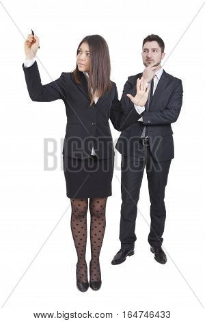 Businesswoman And Businessman Work Together