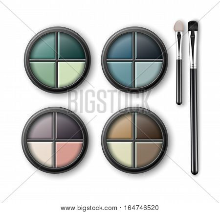 Vector Set of MultiColored Light Blue Pink Brown Violet Yellow Turquoise Ocher Green Emerald Eye Shadows in Round Black Transparent Plastic Case with Makeup Brushes Applicators Isolated on Background.