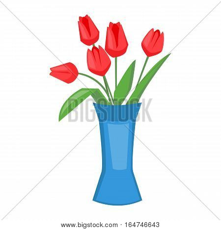 Red tulips in blue vase. Vector illustration of spring flowers. Valentine's day. Flat cartoon style
