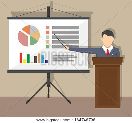 projector screen with chart pie and lecturer do presentation. Training staff, meeting, report, business school. vector illustration in flat style